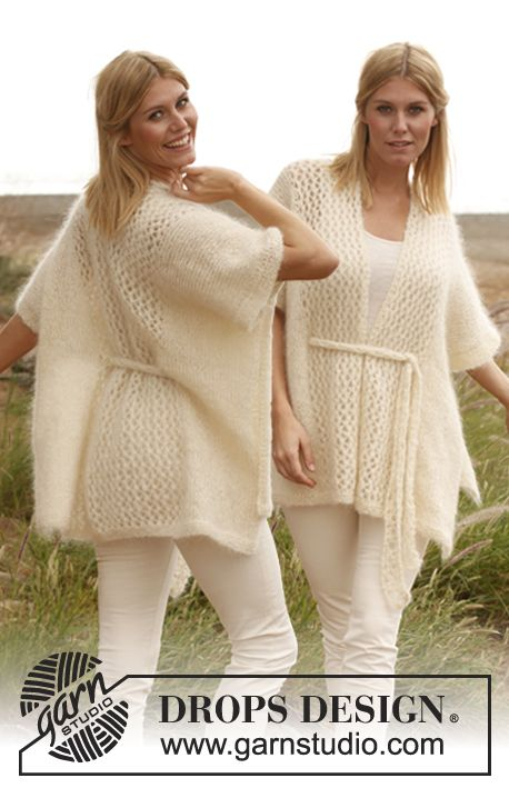 "Milky Way by DROPS Design   ""The summer's cool and elegant garment!"" Knitted DROPS poncho. Sizes S-XXXL I'm going to figure out how to do this in crochet."
