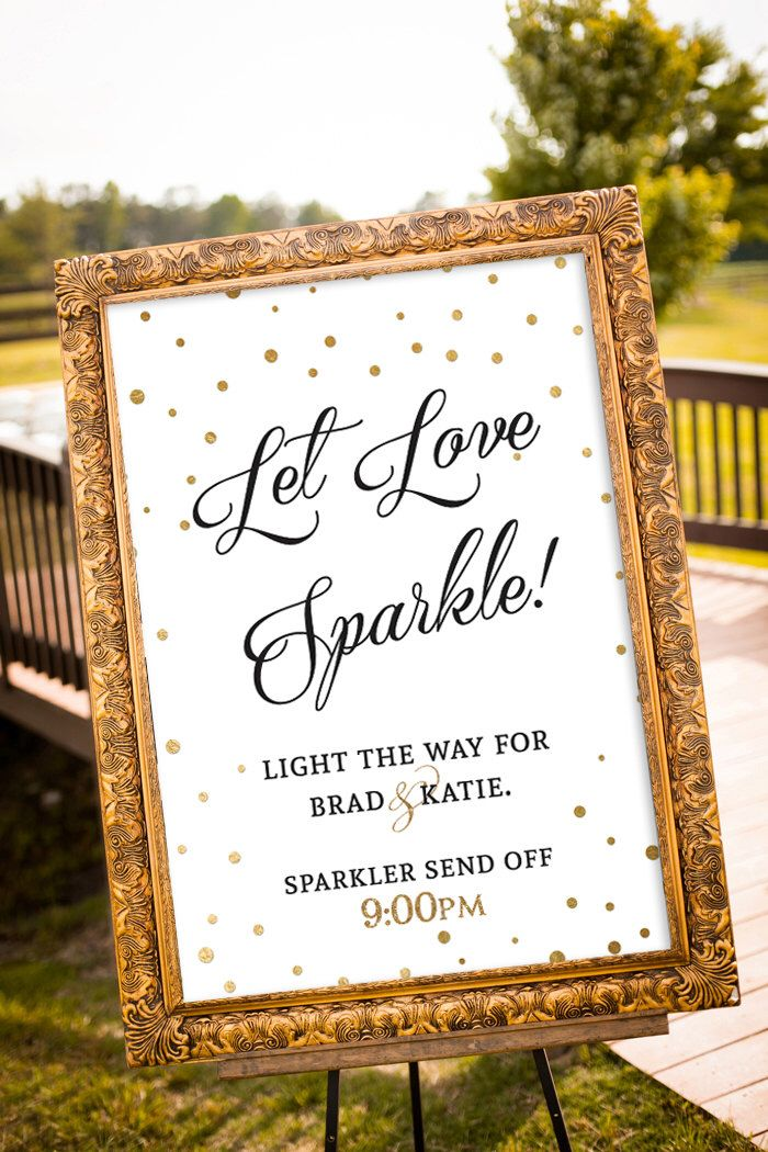 PRINTABLE - Sparkler Send off Sign, Let love sparkle sign, Gold Wedding Decor, Black & Gold Party Decor, Large Custom Wedding Sign, Art Deco by nelladesigns on Etsy https://www.etsy.com/listing/237347131/printable-sparkler-send-off-sign-let
