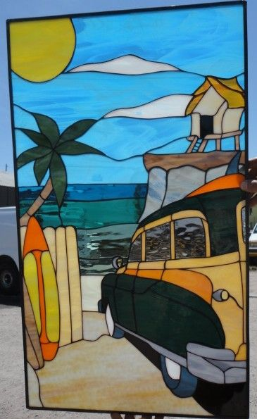 Have us create your own custom stained glass panel to suit your décor and needs. This stained glass was created to incorporate the customers' love of surfing and inserted into...