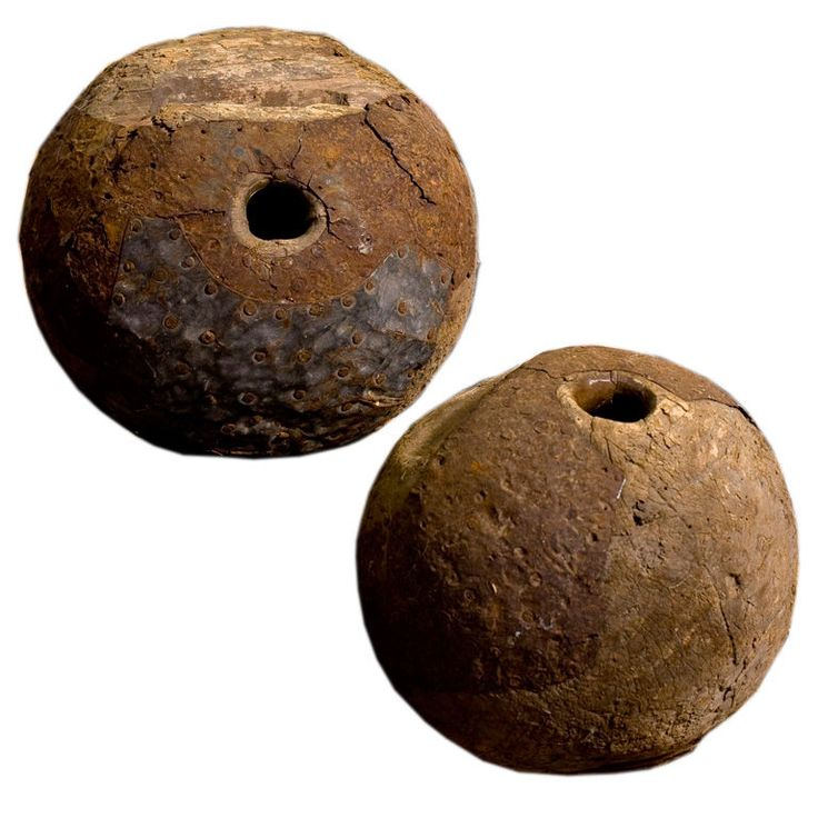 Pair of antique wood and iron game balls | From a unique collection of antique and modern games at http://www.1stdibs.com/furniture/more-furniture-collectibles/games/