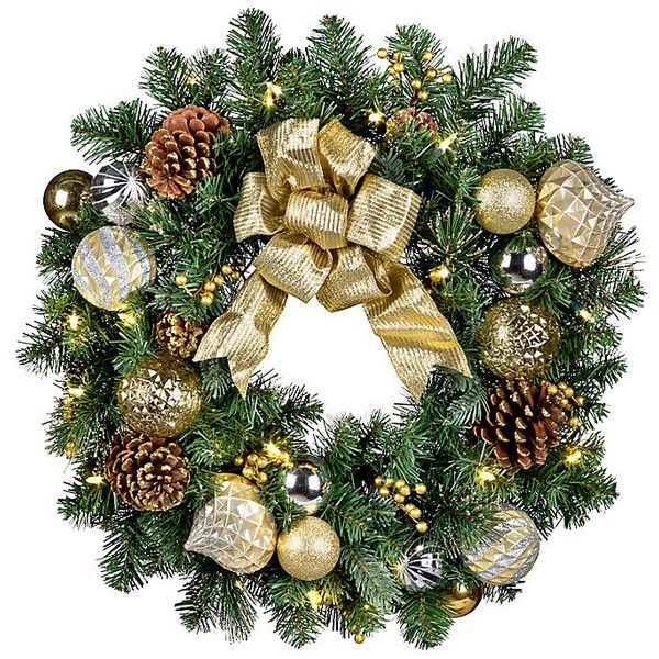 "Pre-Lit Versailles Wreath-26"" ($70) ❤ liked on Polyvore featuring home, home decor, holiday decorations, mini christmas ornaments, christmas ornaments, xmas ornaments, battery operated christmas wreaths and mini ornaments"