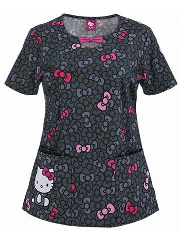 Hello Kitty and Bows, print scrub top at medicalscrubsmall.com
