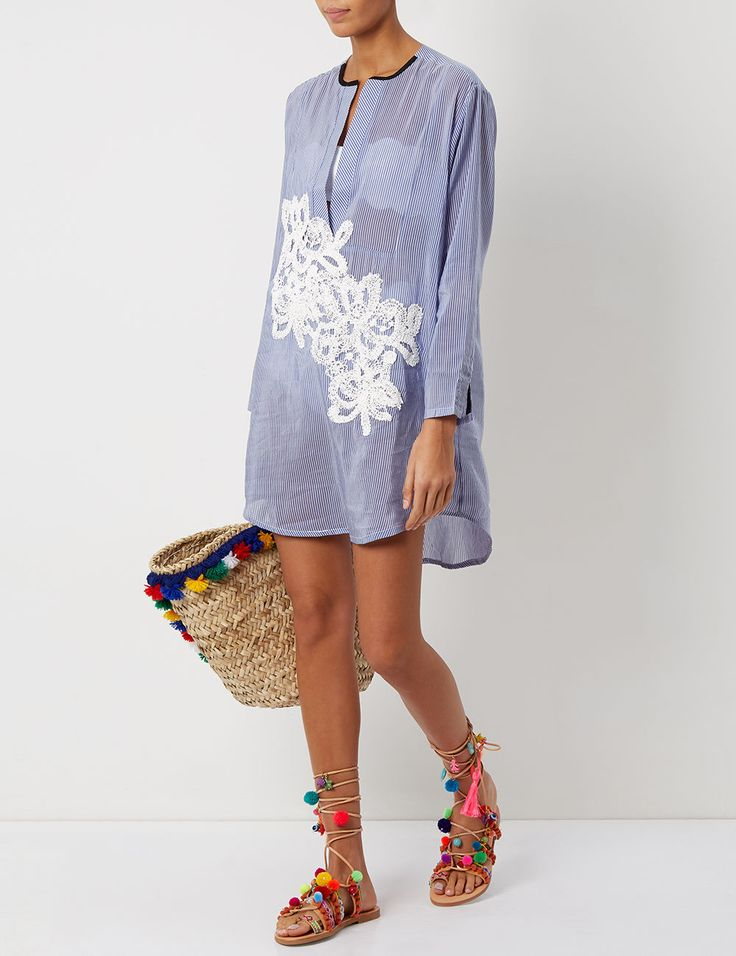 Blue Pinstripe Lace Appliqué Shirt Dress | Lila Eugenie | Avenue32