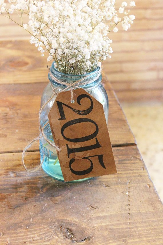 rustic country graduation party decor . class of 2015 kraft paper table centerpiece .