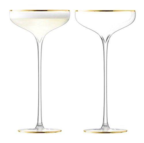 LSA International Celebrate Champagne Saucer (2 Pack), 8.5 fl. oz., Gold Price: $62.48