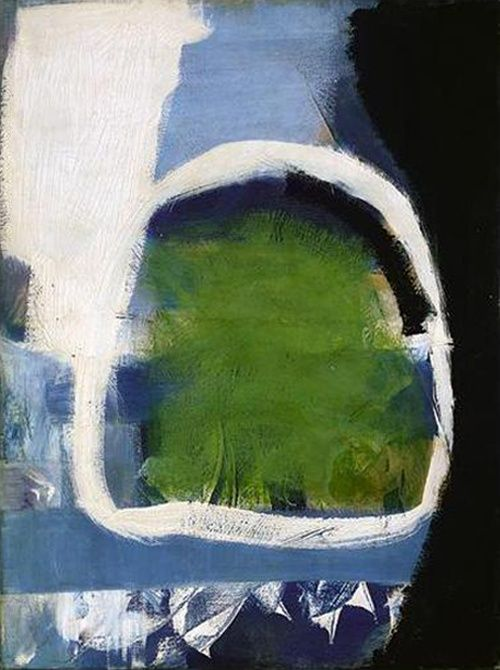 """Green Place (1959) by Peter Lanyon. """"The thing that I'm interested in ...is that there's a place or a hill or a rock, or something like that, the thing that I have experienced that I am able to make it into something new which is an equivalent of that... In the end the whole picture has to be that. It hasn't to represent it, I don't mean photographic representation...it has to be so charged with that experience that it is, the whole self: it will give back that experience to somebody else."""""""