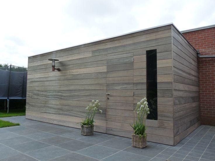 Tuinhuis mooi hout raam in deur mooi vloer mooi licht er aan bevestigen goed idee idee n - Landscaping modern huis ...