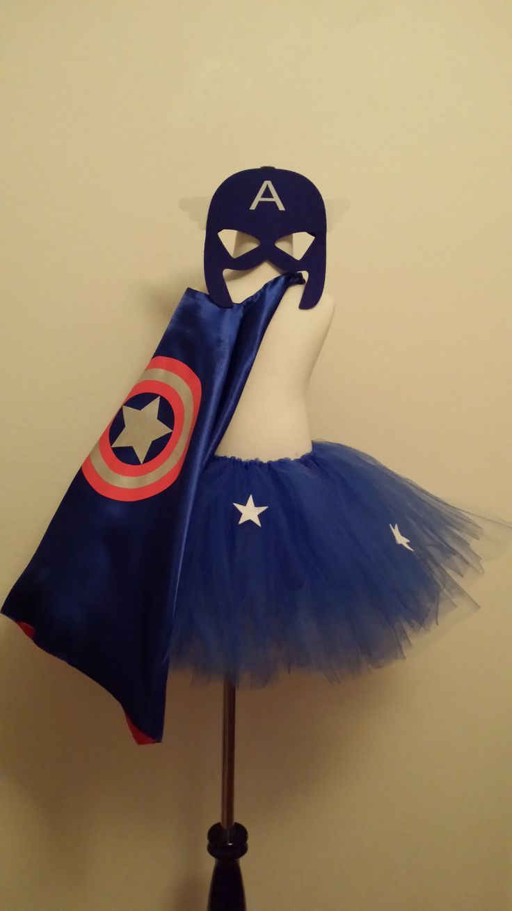 Captain America Inspired Tutu with Cape and Mask This beautiful Captain America Inspired Tutu skirt is made with royal blue tulle with stars. Simply elegant for your sweet little superhero. The cape i