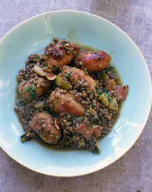 Nigel Slater's bloody lovely sausage and lentil supper