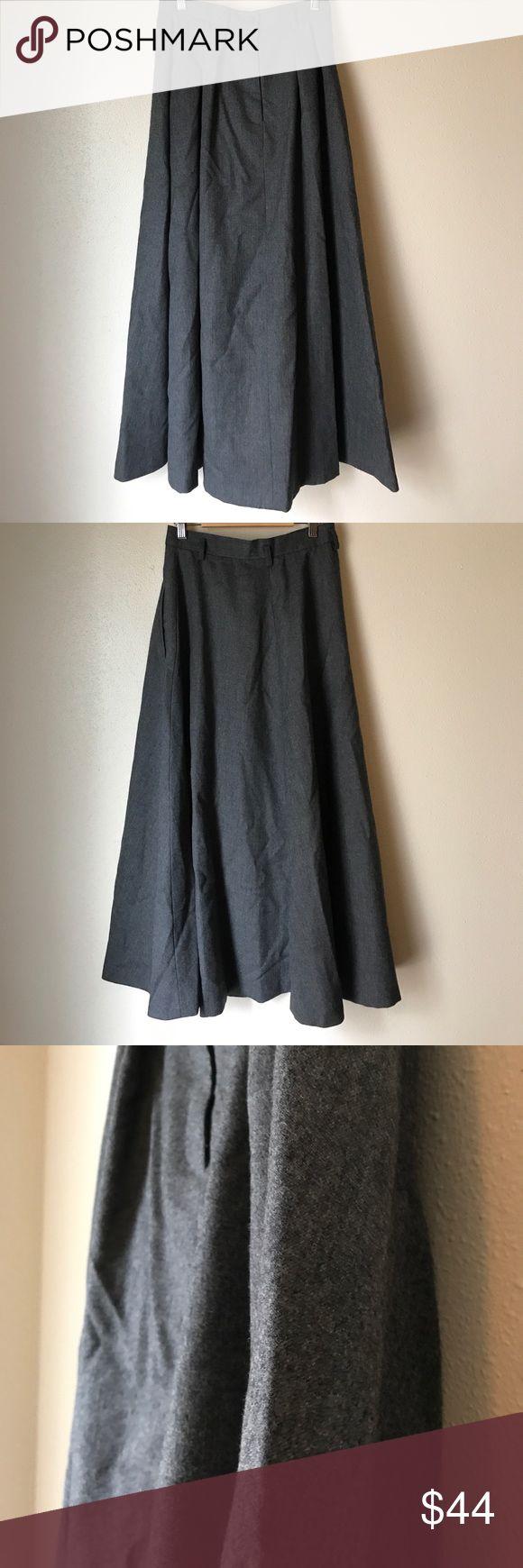 "Ralph Lauren Charcoal Grey Wool Maxi Skirt 100% Wool Maxi Skirt. Unlined US 10. Waist 13.5"" flat  Length 36"" long. No rips or stains. Belt looks, two side pockets, Zip front and 1 button closure. Ralph Lauren Skirts Maxi"