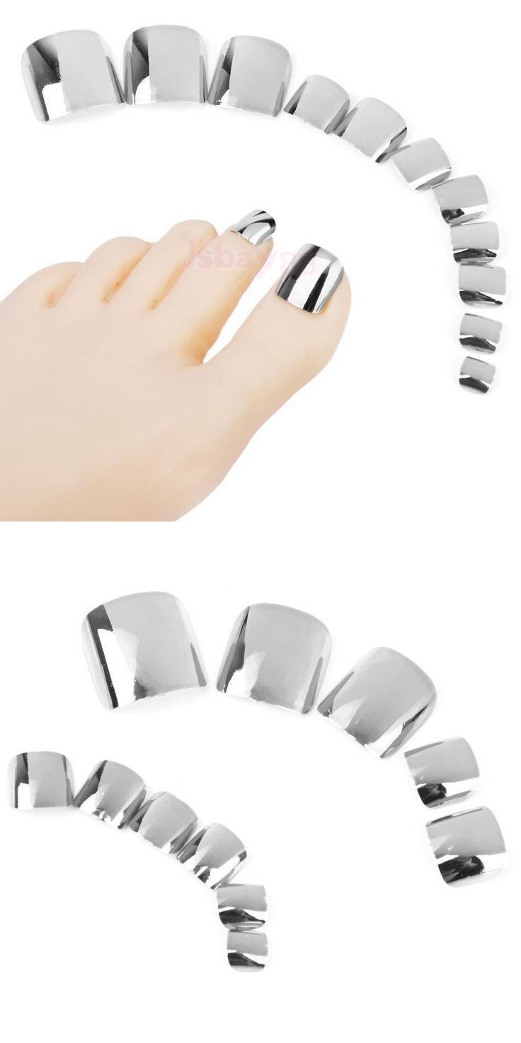 [Visit to Buy] DIY Fashion Metallic Colors Toe Nails 24pcs Acrylic False Toes Art Tips Fake Toenails Sexy Metallic Silver Gray Color N12 #Advertisement