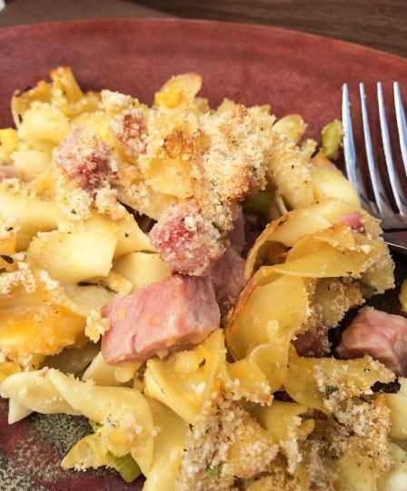 This Easy Ham Noodle Casserole is an easy meal to make with leftover ham with a few ingredients. It is an easy, tasty, weeknight family dinner.