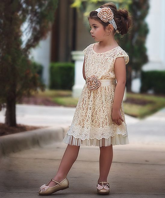 Tan Lace Flower A-Line Dress - Toddler & Girls