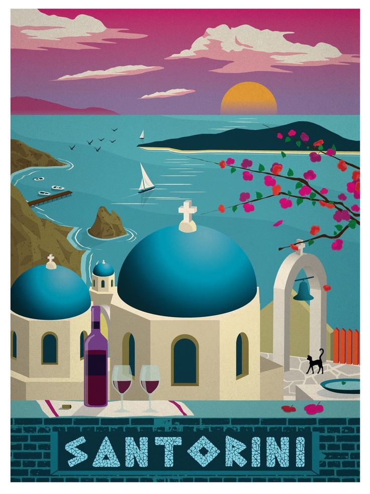 Vintage Travel Poster Santorini Greece / Islands at sunset