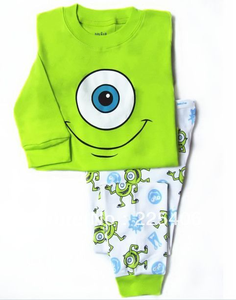 New, Long sleeves Big eyes  Brand child clothes Pyjamas suit pink princess Children's Clothes baby Cotton sets underwear