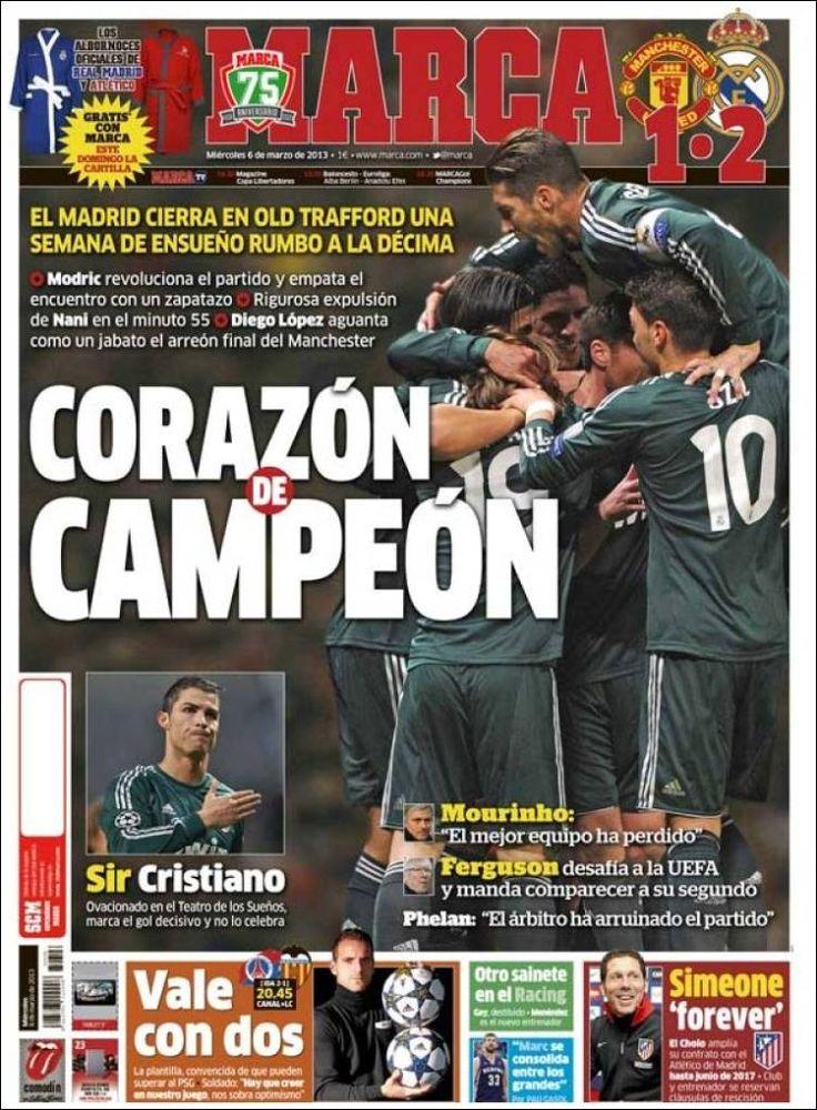 Los Titulares y Portadas de Noticias Destacadas Españolas del 6 de Marzo de 2013 del Diario Deportivo MARCA ¿Que le pareció esta Portada de este Diario Español?