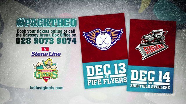 #packtheo  Pack The Odyssey Arena this December when the Stena Line Belfast Giants take on the Fife Flyers on Friday 13th December and the Sheffield Steelers on Saturday 14th December 2013.  Featuring Canadian sports entertainer Cameron Hughes.  Get your tickets now by calling the Odyssey Arena Box Office on 028 9073 9074 or online at ticketmaster.ie  For the latest Giants news and schedule visit the official website at belfastgiants.com