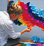 FBS - Parade Floats, Parade Float, Parade Float Supplies, Parade Float Decorations, Parade Flaot: Recipes Hair, Rainbows Backdrops, Chicken Wire Wall, Chicken Wire Floating, Backdrops Recipes, Tissue Paper, Backdrops Ideas, Chicken Wire Backdrops, Parties Backdrops