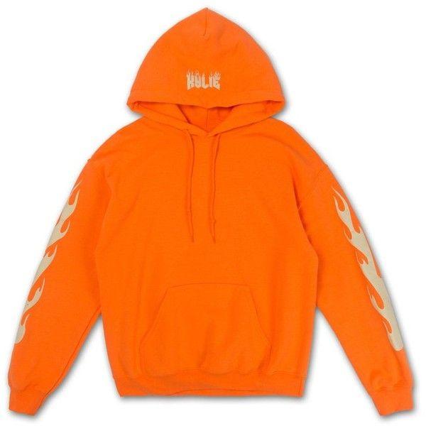 Fire Hoodie ($70) ❤ liked on Polyvore featuring tops, hoodies, orange hooded sweatshirt, hooded pullover, hoodie top, cotton hoodie and orange hoodie