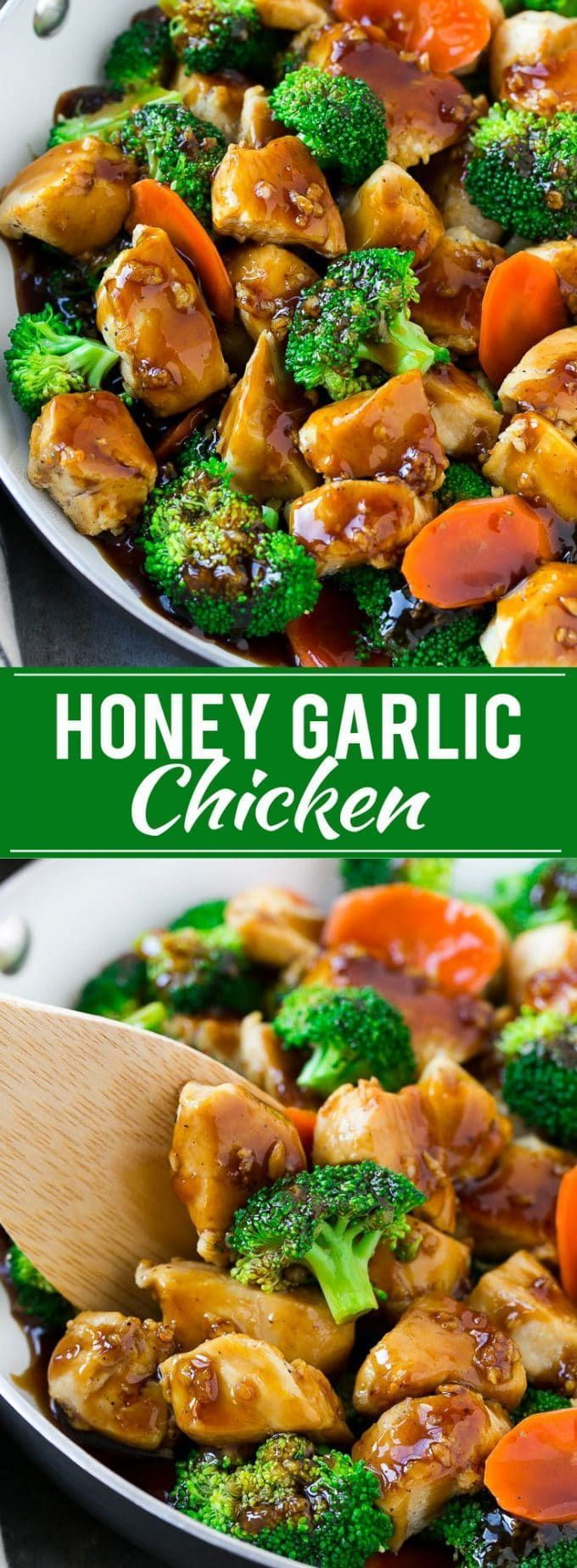 THIS HONEY GARLIC CHICKEN STIR FRY RECIPE IS FULL OF CHICKEN AND VEGGIES, ALL COATED IN THE EASIEST SWEET AND SAVORY SAUCE. A HEALTHIER DINNER OPTION THAT THE WHOLE FAMILY WILL LOVE! (Chicken Recipes)