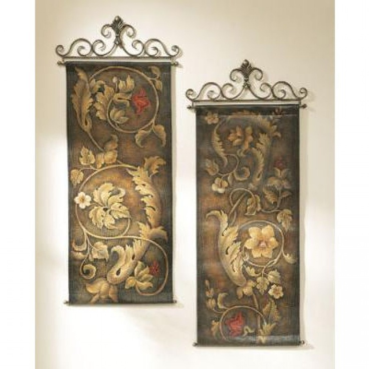 CBK Wall Hangings with Mosaic Look Floral and Scroll Design (Set of 2) - 74118