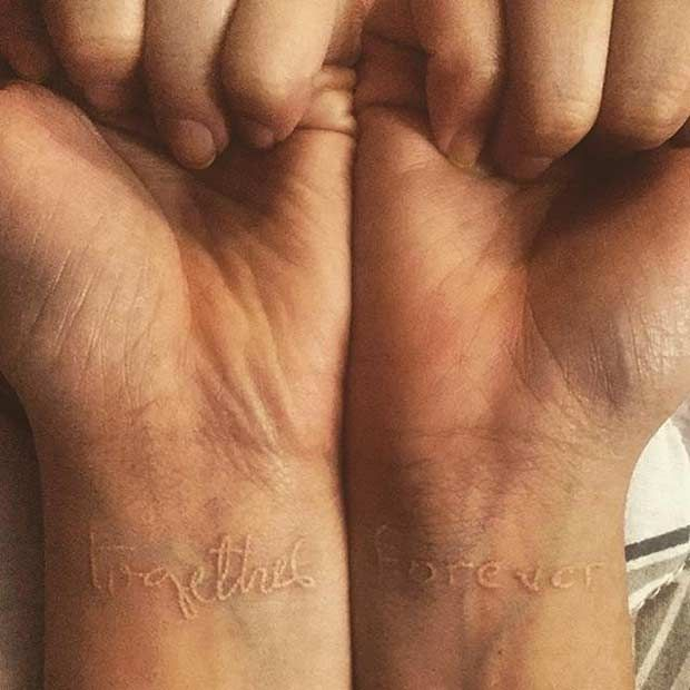 """White Ink Connecting Tattoos - """"Together Forever""""."""