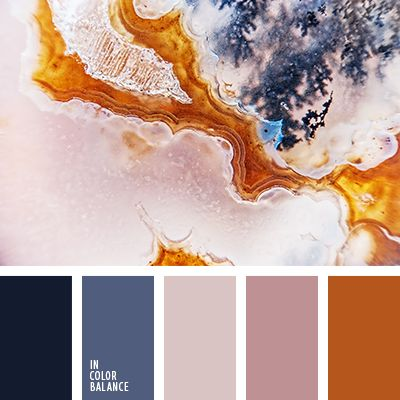 Stylish and elegant composition. Special chic palette gives the combination of rich, warm and cold colors. Orange and blue - a classic scheme, has perfect harmony. This beauty emphasize shades of ash-pink - tender and soft. The black color in this company looks very out of place. His presence invigorates and tones.