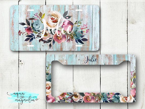 Monogram License Plate And Frame Rustic Wood Floral Personalized Car Tag New