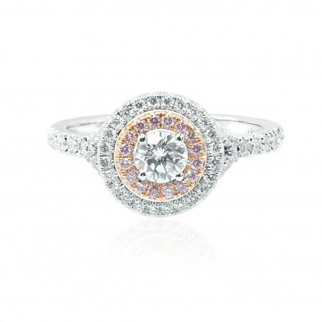 Round White and Pink Diamond Double Halo Ring, a touch of pink to let your personality shine in a subtle way