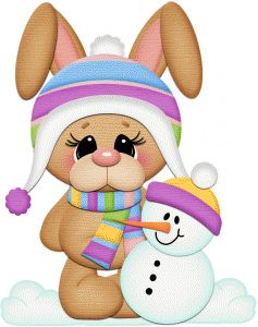 Silhouette Design Store - View Design #53040: snow bunny w  snowman pnc For Christmas