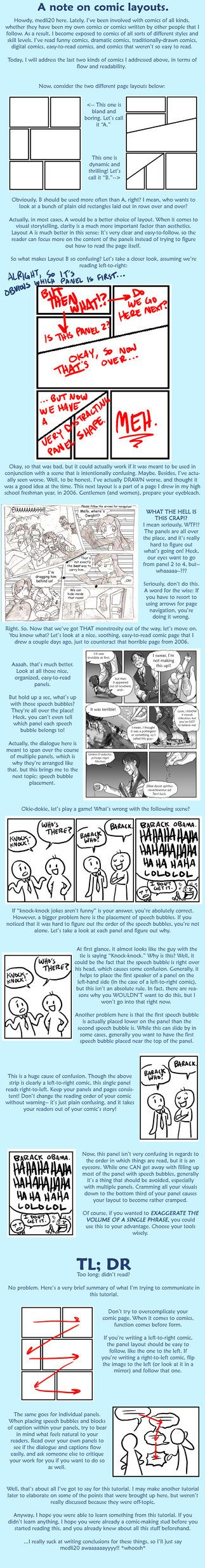 Tutorial: comic layouts by =medli20 on deviantART. Recommended by Andrea Beaty, author of Attack of the Fluffy Bunnies.