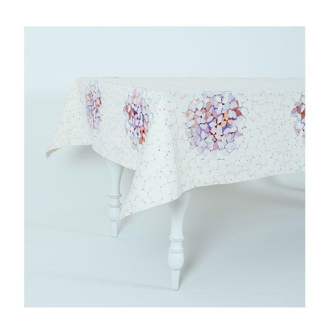 Pembe çiçek demeti desenli %100 koton Piculet masa örtüsü.    Ebat : 150 x 150