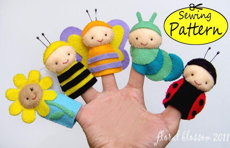 Garden Friends Felt Finger Puppets