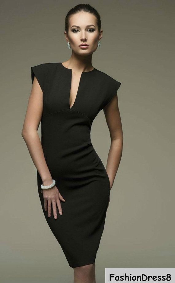 This is a beautiful and versatile little black dress pencil dress is made of cotton and elastane,This short dress is the ultimate in combining elegance,Pair it with your favorite heels and bracelet for a stunning, timeless look.  Please measure yourself  *clothing is make for order.You may pick a size from the standard sizes below.  -Your bust- around the fullest part -Your natural waist - around the narrowest part you can find (natural waist) -Your hips, around the fullest part- make sure…