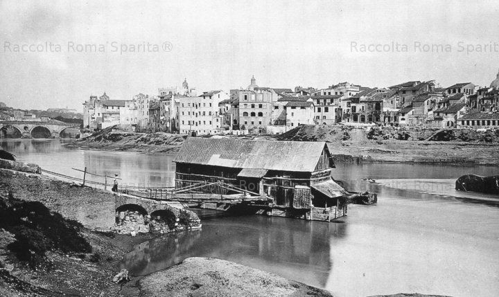 Mulino sul Tevere.sullo sfondo ponte sisto 1885