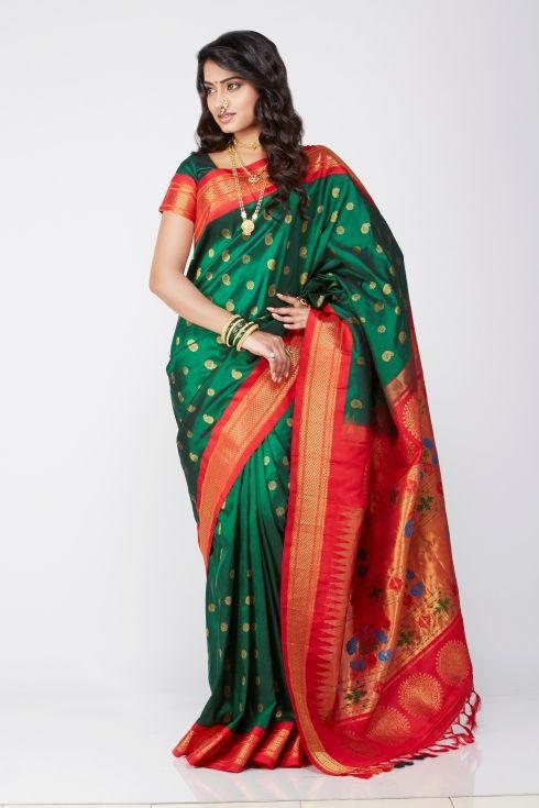 Green Paithani Paithani Sarees Pinterest Green