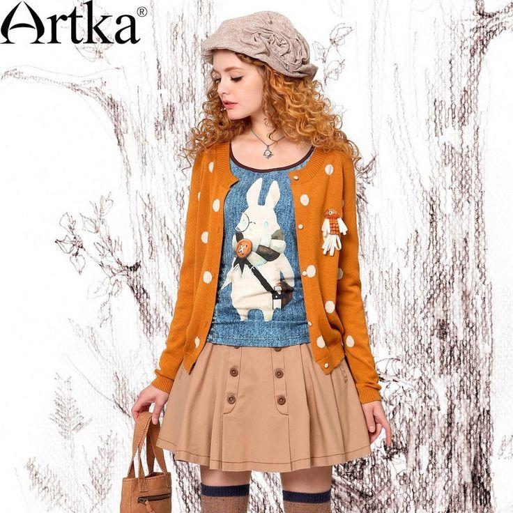 Artka Осенняя женская обувь свежий Стиль одноцветное попугай значок в белый горошек жаккардовые шерстяной вязаный свитер кардиган 2 цвета WB19431C