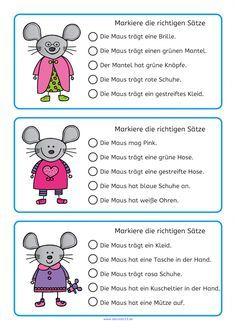 Lesen üben mit den fröhlichen Mäusen macht Spaß! So geht es: Das Bild anschauen, die Sätze lesen, die richtigen Sätze markieren. Ideal für ein kleines Lesetraining oder als laminierte Kartei weiterlesen →