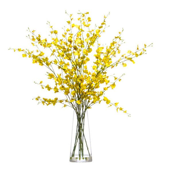 Lux Art Silks Yellow Oncidium Faux Flower Arrangement ($275) ❤ liked on Polyvore featuring home, home decor, floral decor, yellow home decor, yellow home accessories and yellow silk flowers