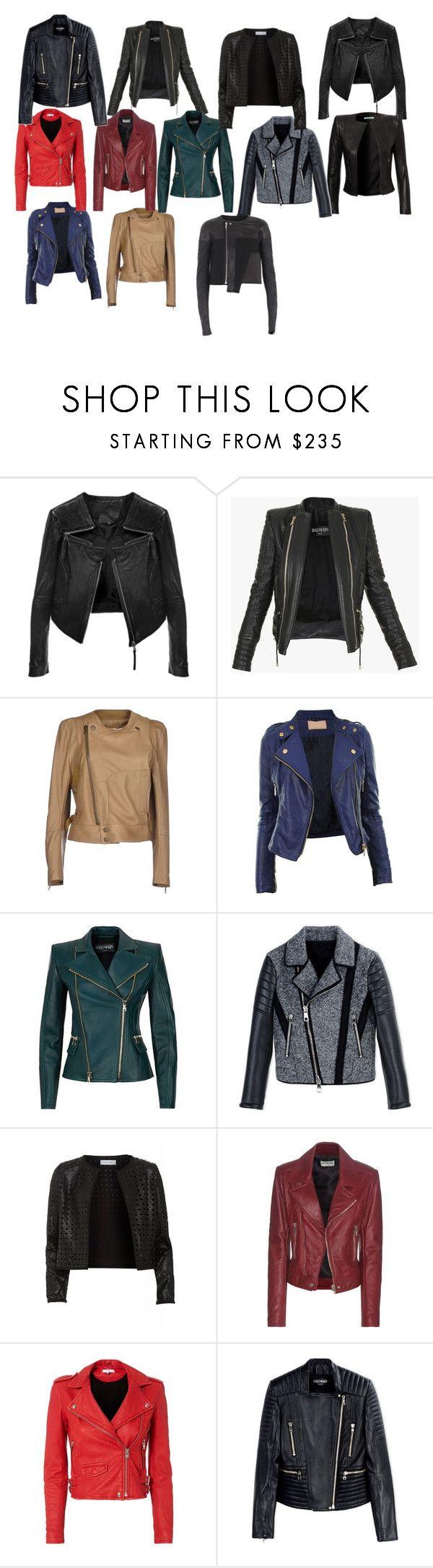 """Leather jackets"" by azra-99 on Polyvore featuring Linea Pelle, Balmain, Chloé, Neil Barrett, Maglie I Blues, Balenciaga, IRO and Rick Owens"