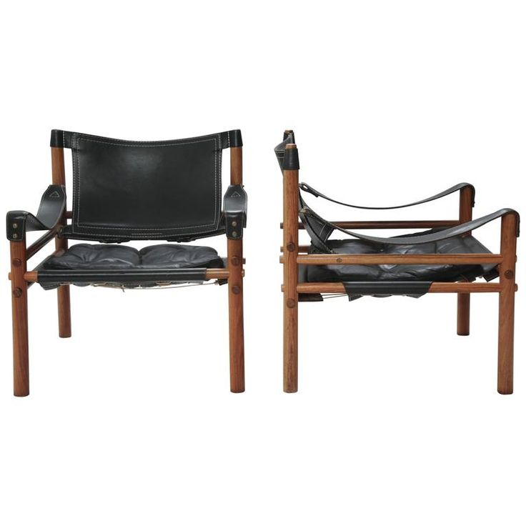 "Pair of Rosewood Arne Norell ""Sirocco"" Safari Chairs, Sweden, 1960s 