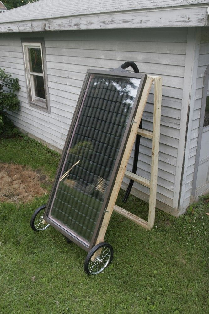 Greenhouse (or other small area) DIY solar heater made from soda cans.