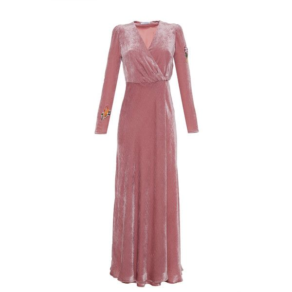 Vivetta     Citta Del Guatemala Velvet Maxi Dress (13.335.005 IDR) ❤ liked on Polyvore featuring dresses, pink, applique dress, maxi dresses, red wrap dress, wrap maxi dress and red maxi dress
