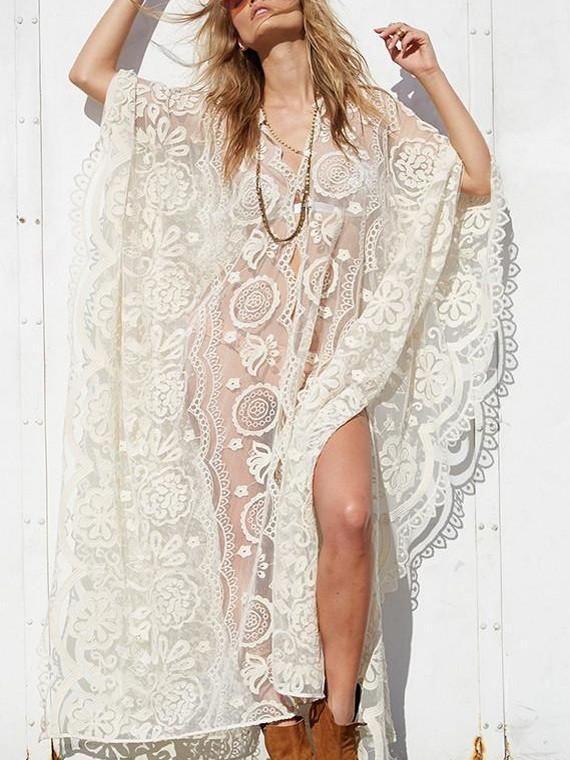 Fashion Sexy Mesh Lace V Neck Beach Maxi Dress