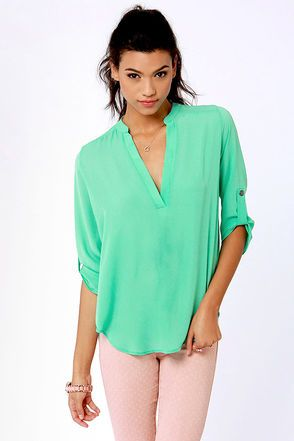 V-sionary Mint Green Top $37