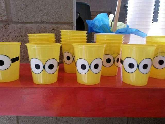 Cute cups at a Despicable Me party!   See more party ideas at CatchMyParty.com!