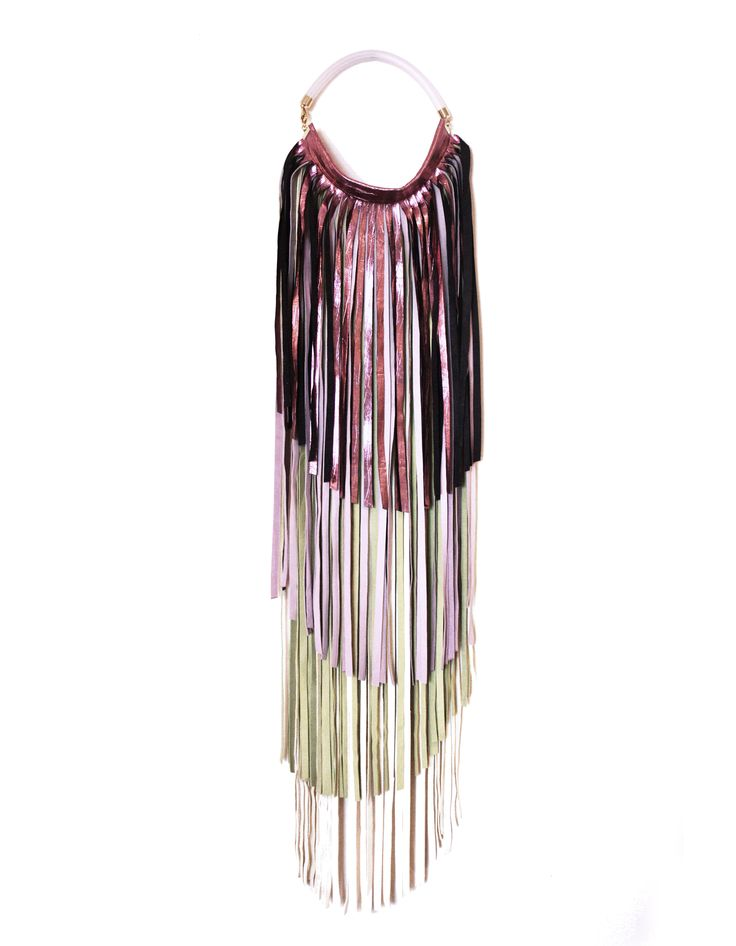 Fringe Necklace_Metallic Pink PVC Tubolar Collection 2016 Leather jewellery by My Golden Cage
