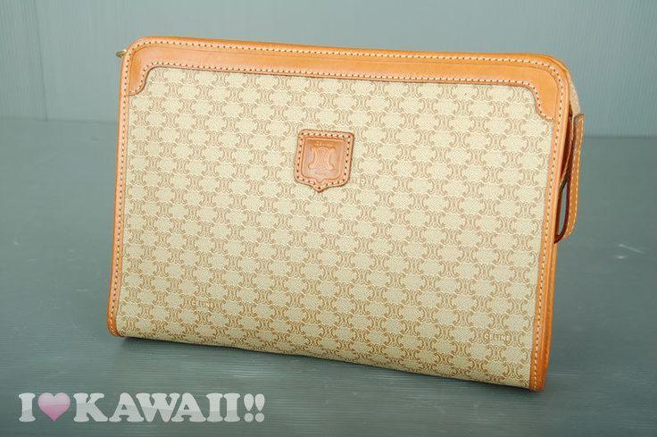 Authentic CELINE Beige Macadam PVC / Light Brown Leather Clutch ...