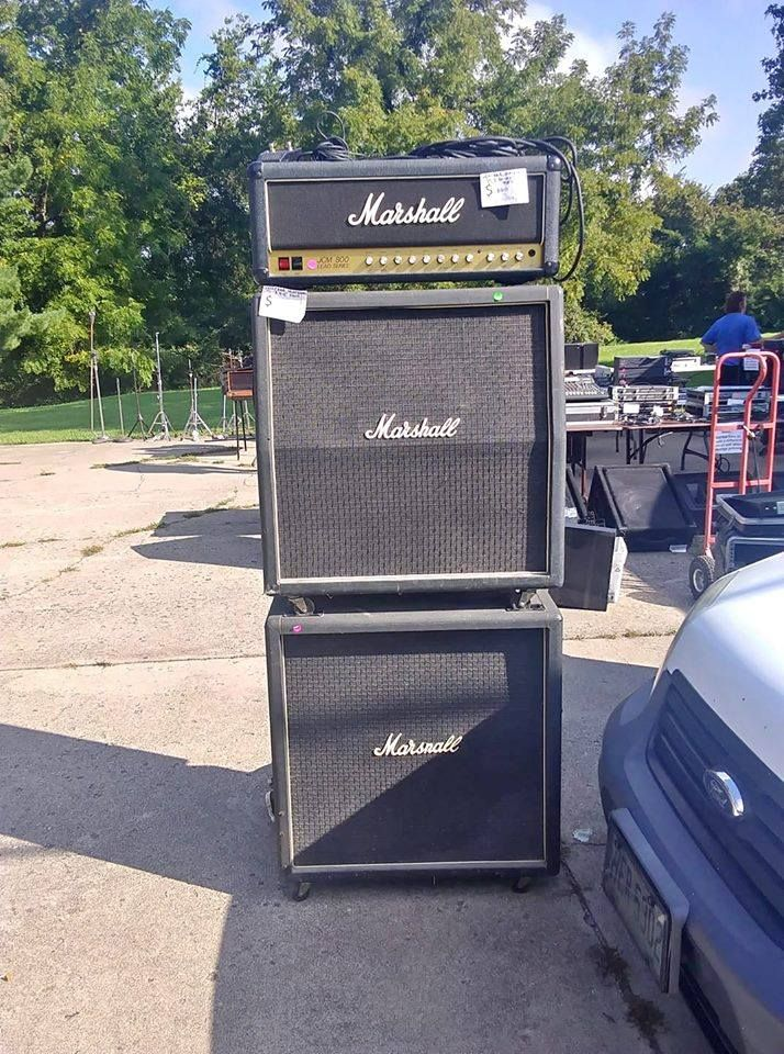 Marshall Cabinets With Black Painted Vintage Grill Cloth