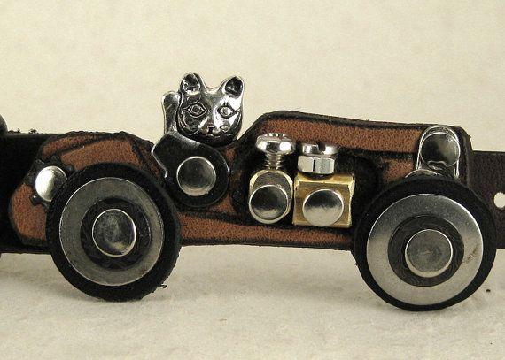 323 Cat Racing Car Steampunk Burning Man Bracelet by ShabbyLuxury